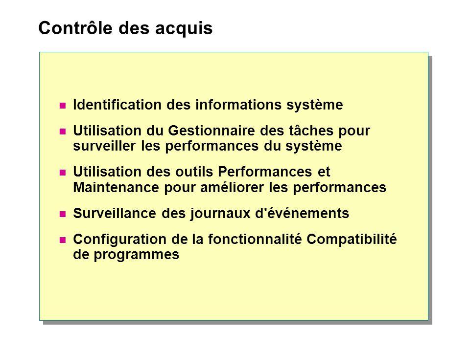 Contrôle des acquis Identification des informations système