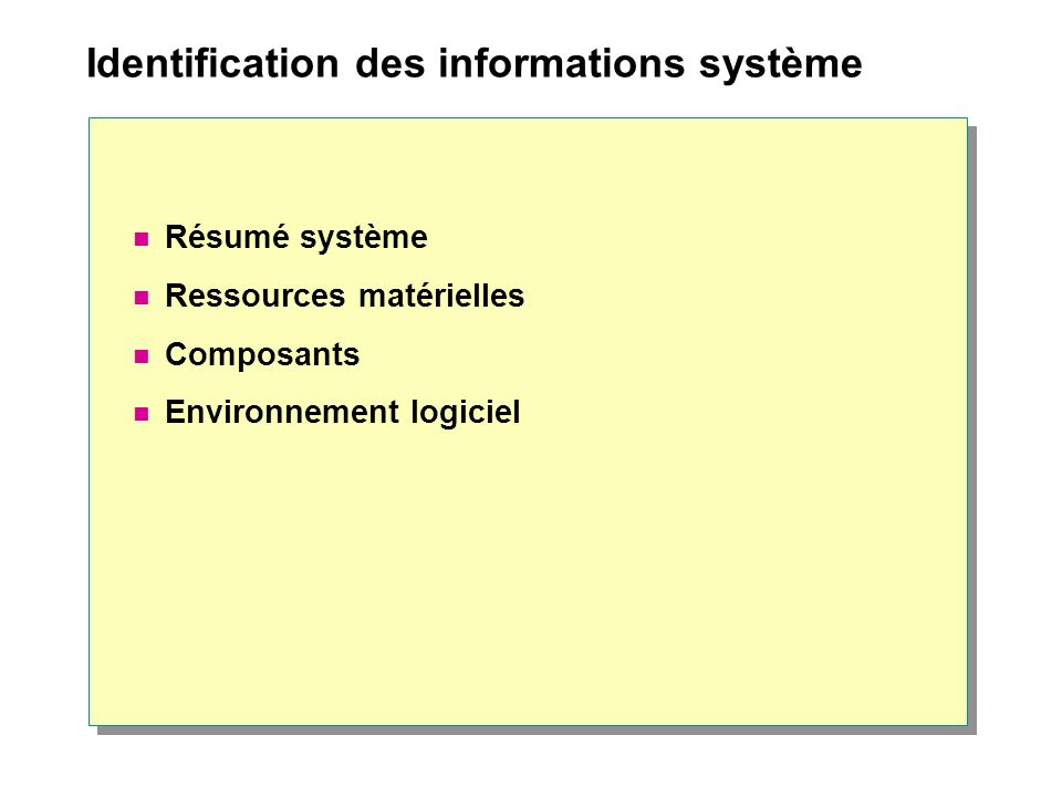 Identification des informations système