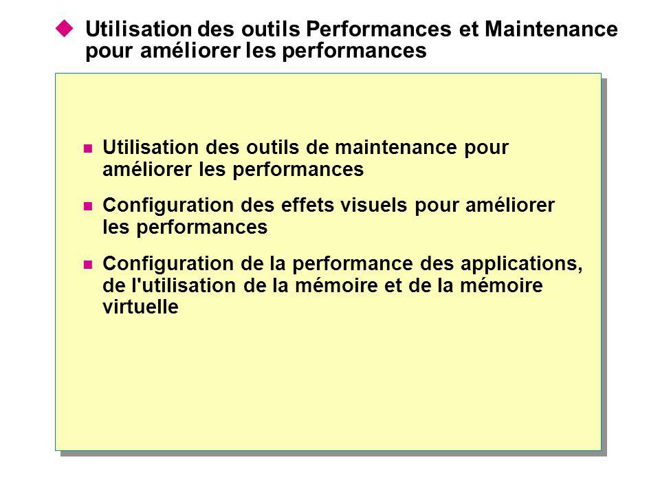 Utilisation des outils Performances et Maintenance pour améliorer les performances