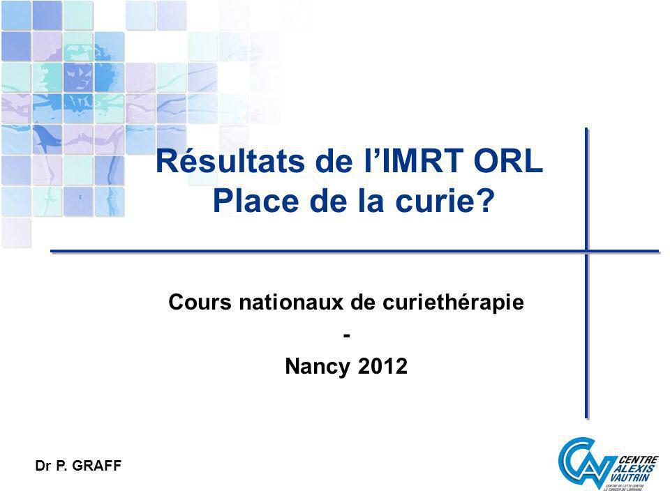 Résultats de l'IMRT ORL Place de la curie