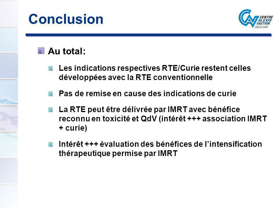 Conclusion Au total: Les indications respectives RTE/Curie restent celles développées avec la RTE conventionnelle.