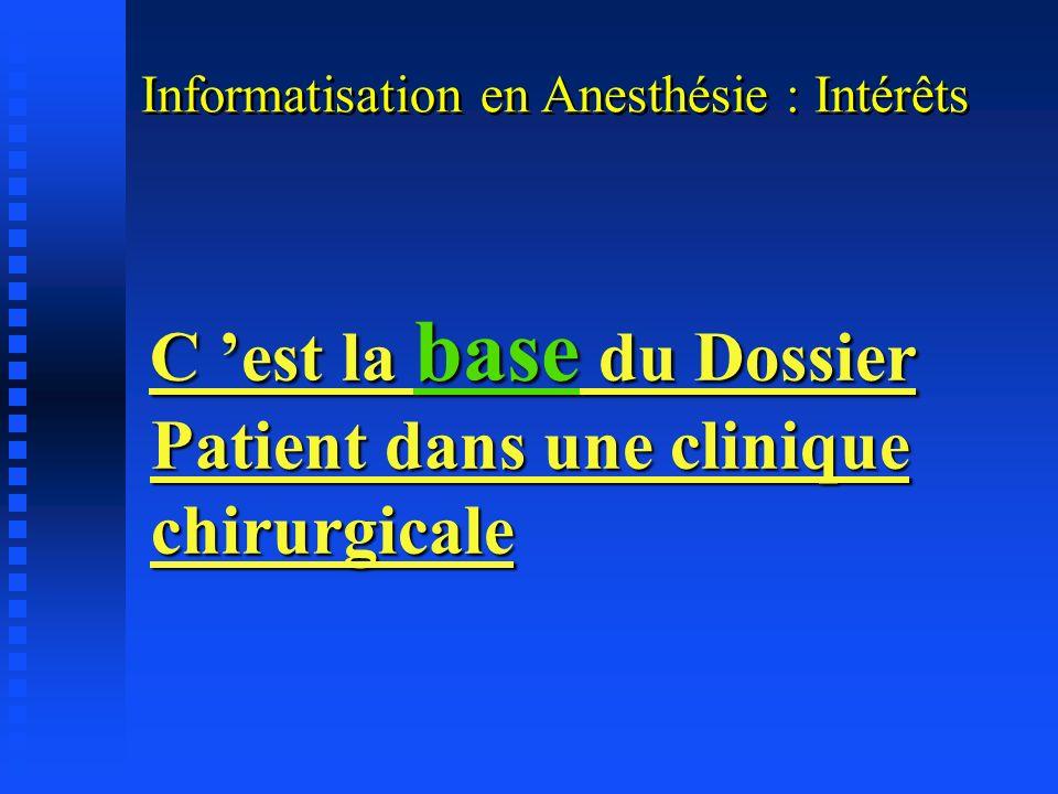 C 'est la base du Dossier Patient dans une clinique chirurgicale