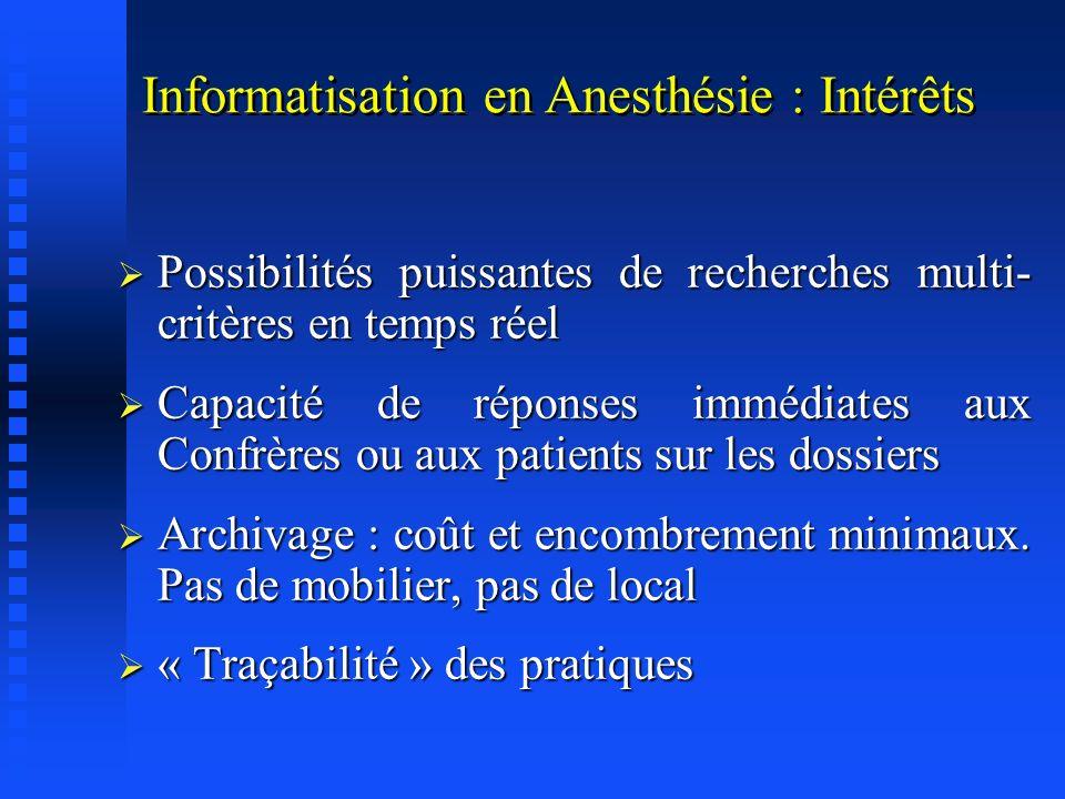 Informatisation en Anesthésie : Intérêts