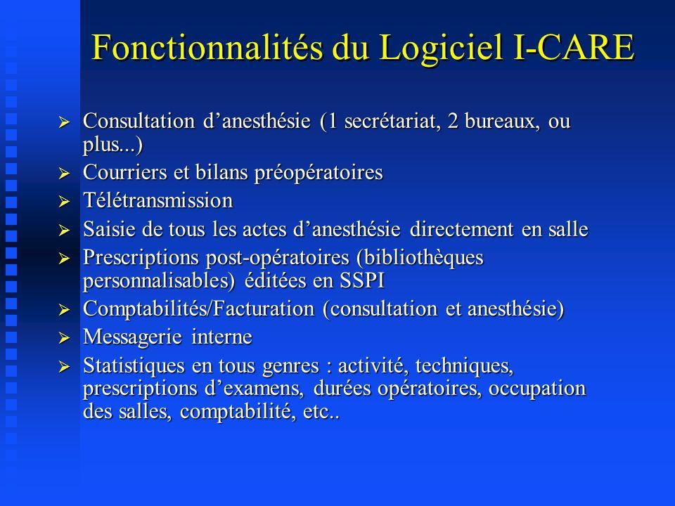Fonctionnalités du Logiciel I-CARE