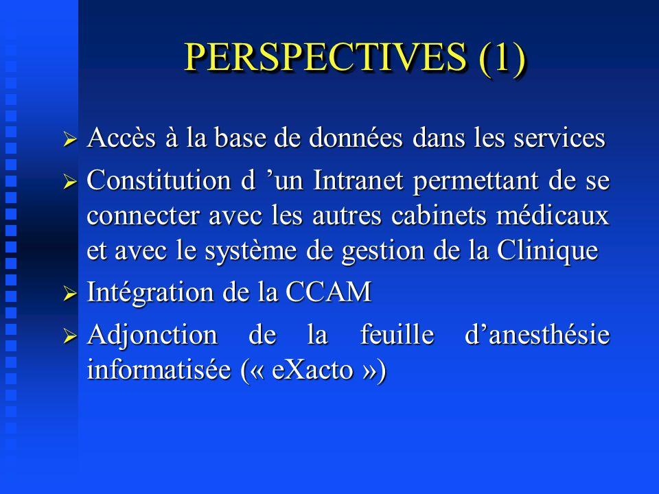 PERSPECTIVES (1) Accès à la base de données dans les services