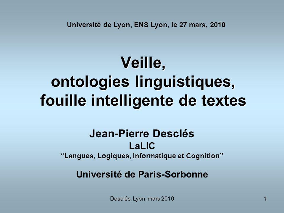 Veille, ontologies linguistiques, fouille intelligente de textes