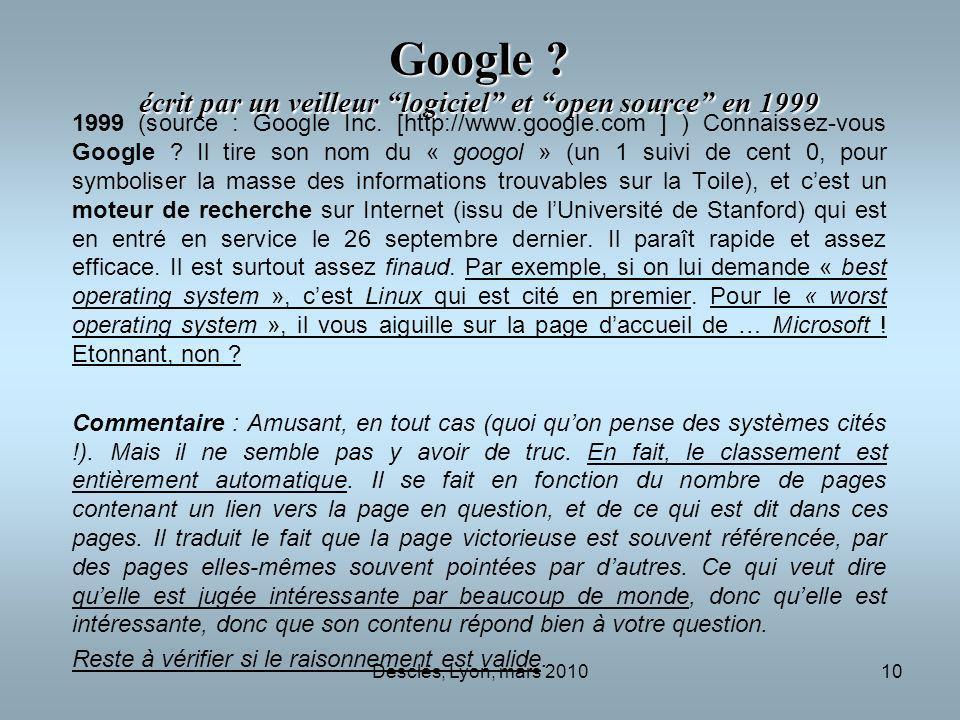 Google écrit par un veilleur logiciel et open source en 1999