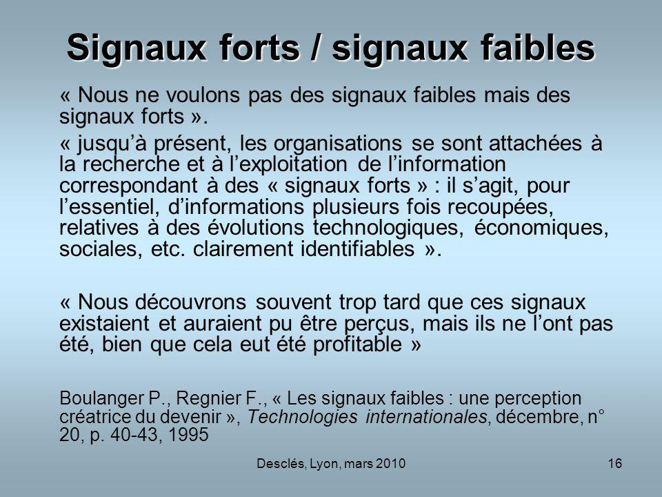 Signaux forts / signaux faibles