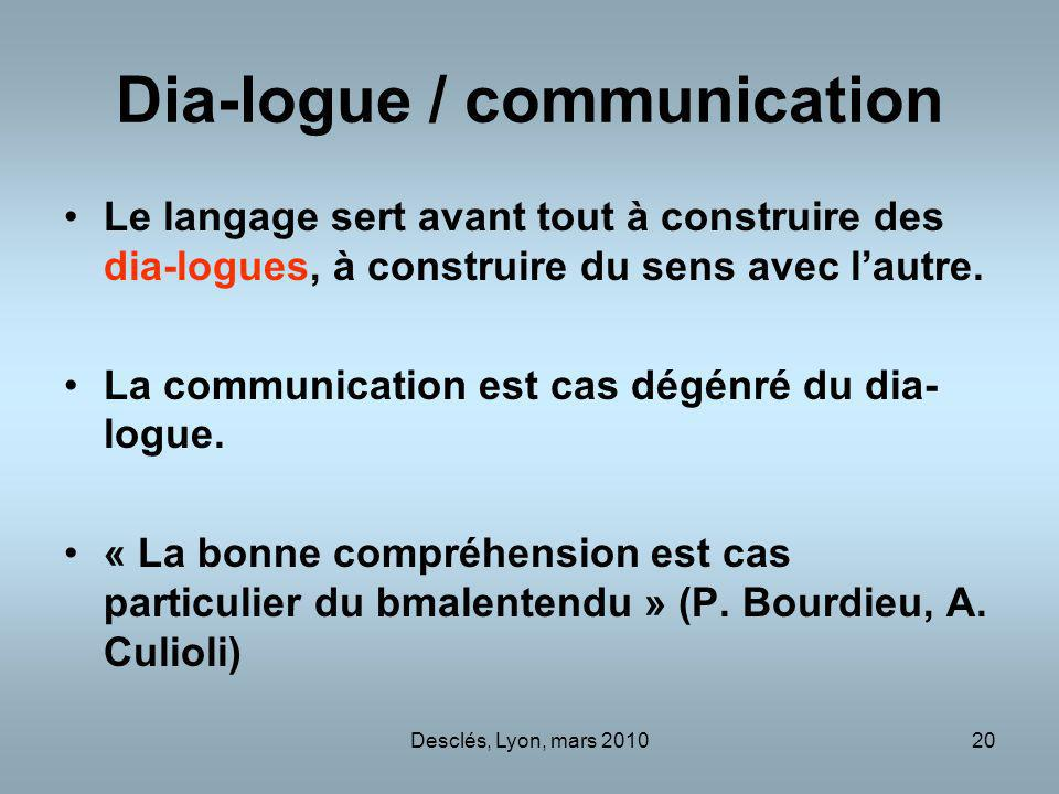 Dia-logue / communication