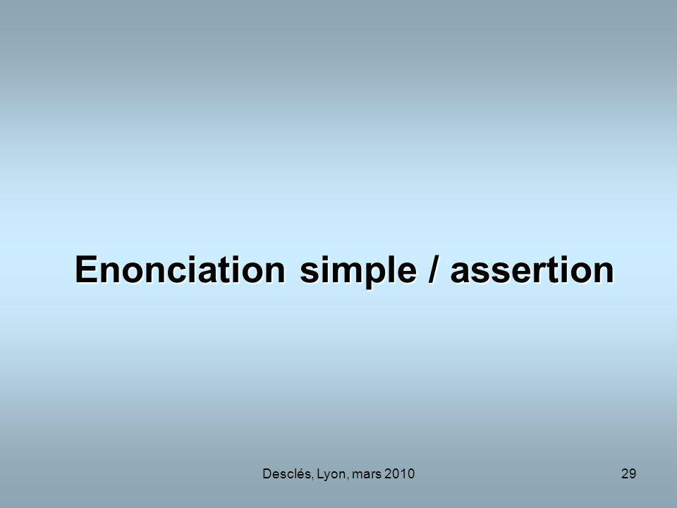 Enonciation simple / assertion