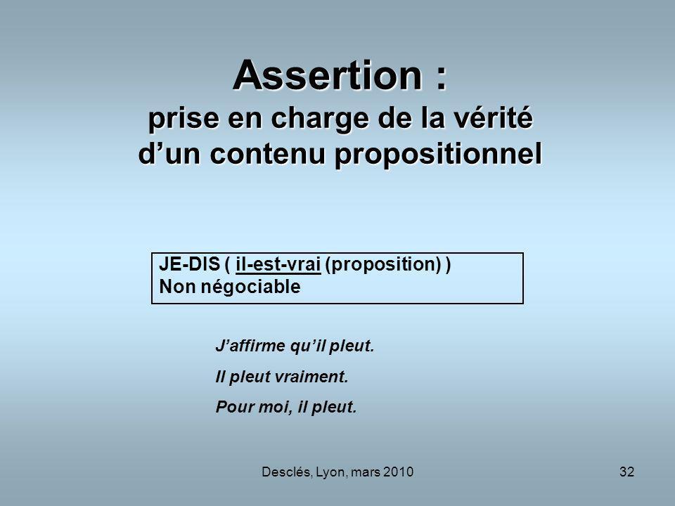 Assertion : prise en charge de la vérité d'un contenu propositionnel