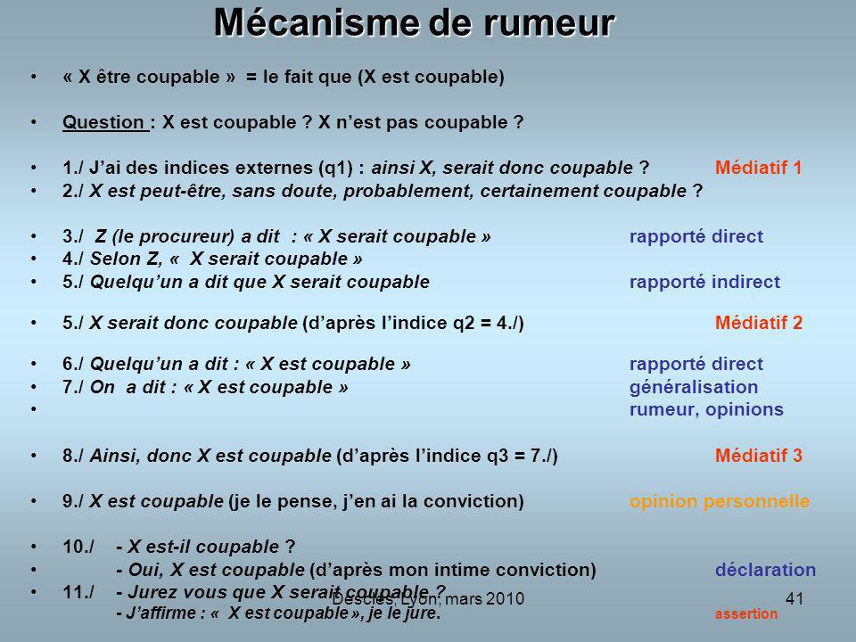 Mécanisme de rumeur « X être coupable » = le fait que (X est coupable)