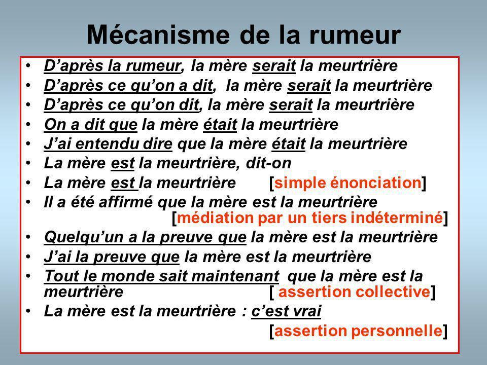 Mécanisme de la rumeur D'après la rumeur, la mère serait la meurtrière