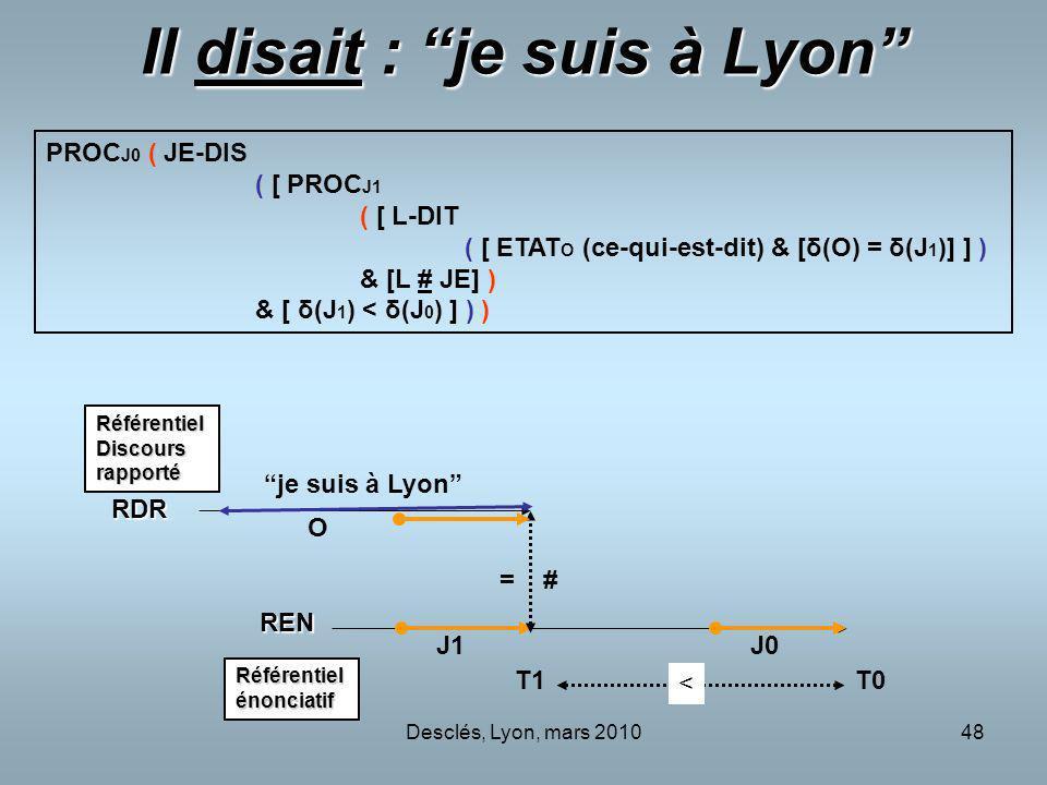 Il disait : je suis à Lyon