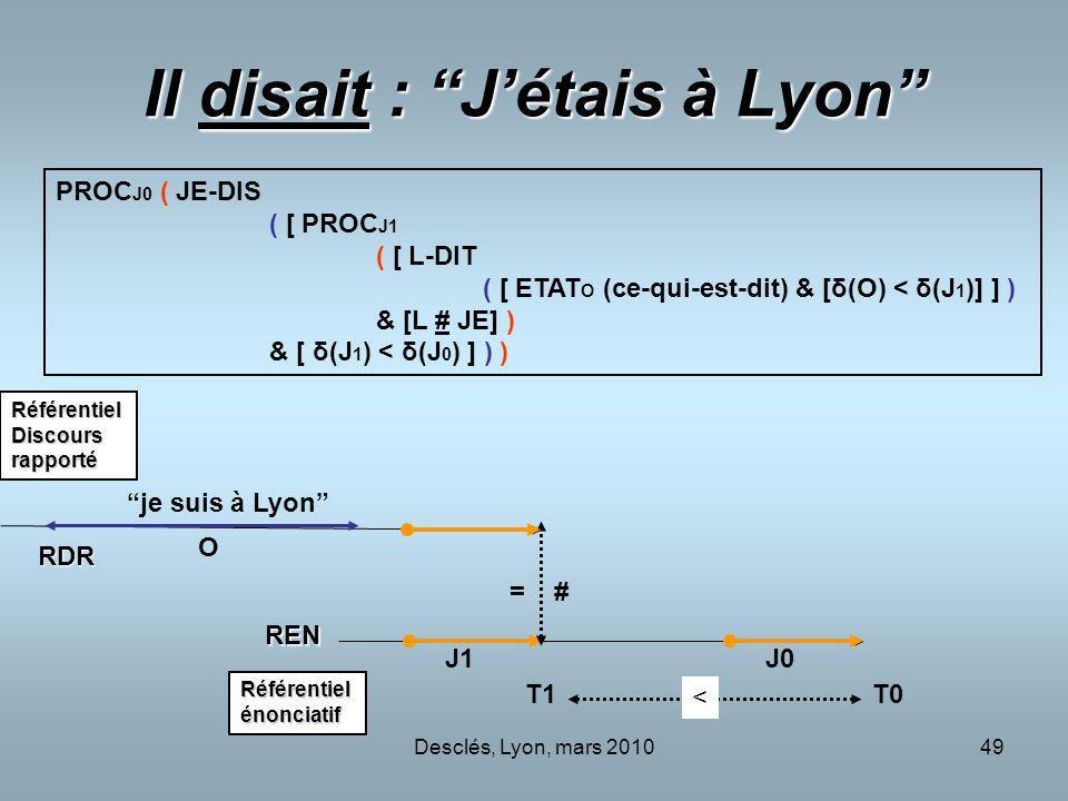 Il disait : J'étais à Lyon