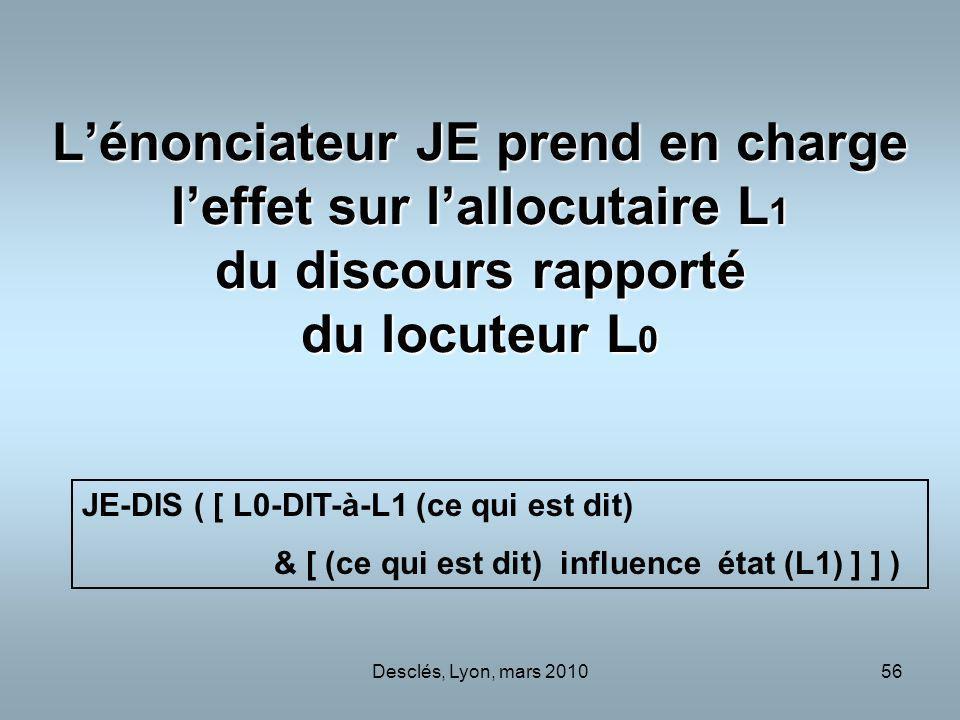 L'énonciateur JE prend en charge l'effet sur l'allocutaire L1 du discours rapporté du locuteur L0
