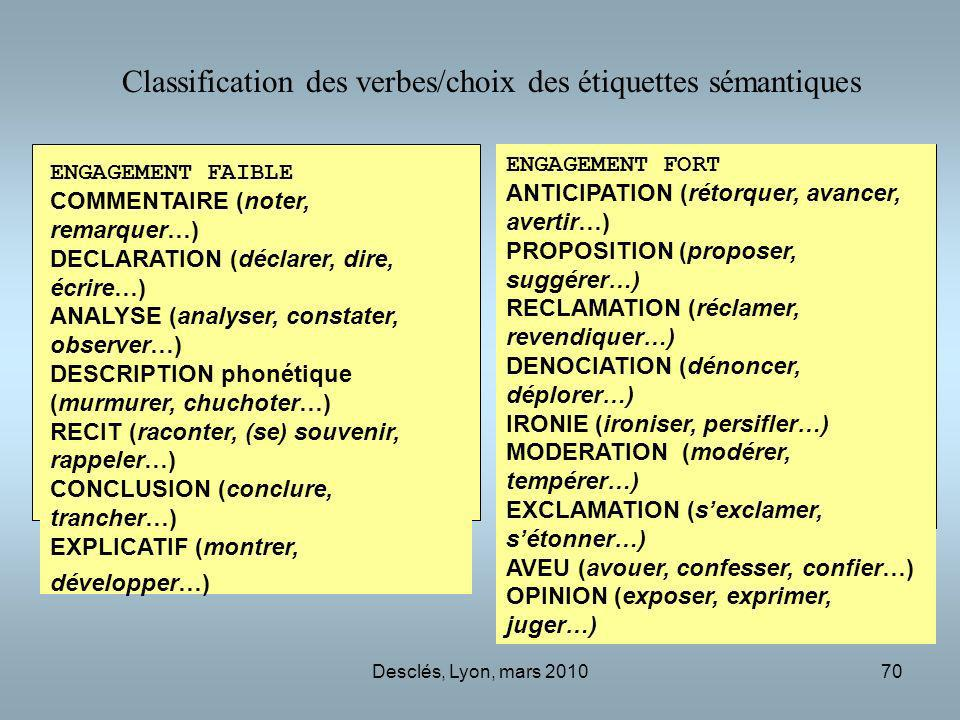 Classification des verbes/choix des étiquettes sémantiques