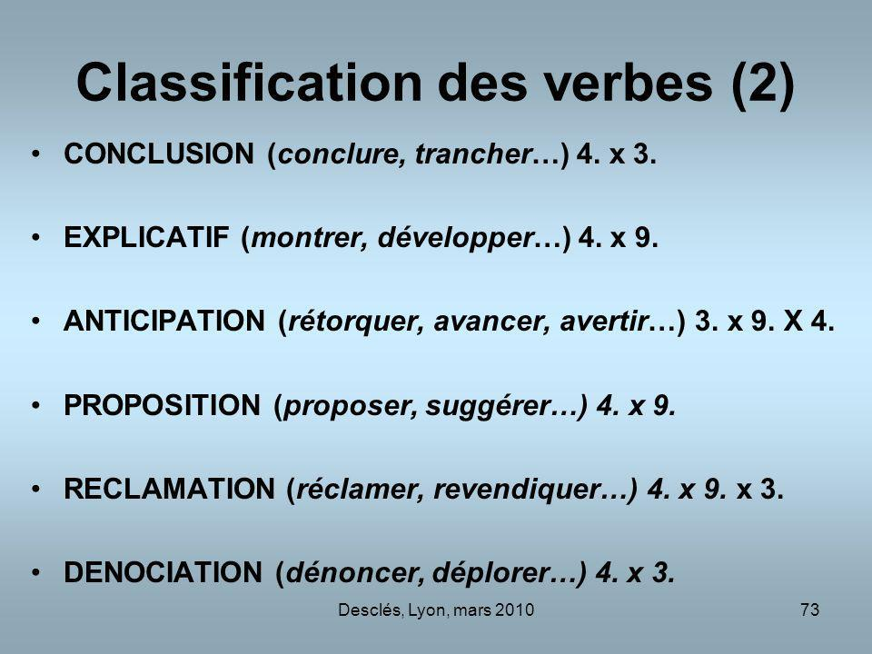 Classification des verbes (2)