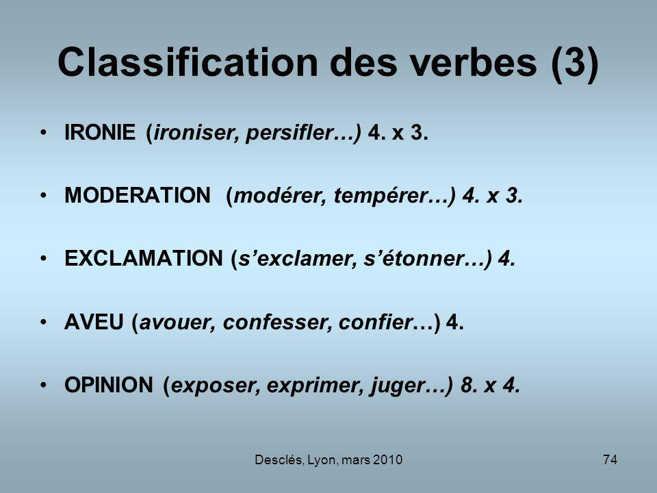 Classification des verbes (3)