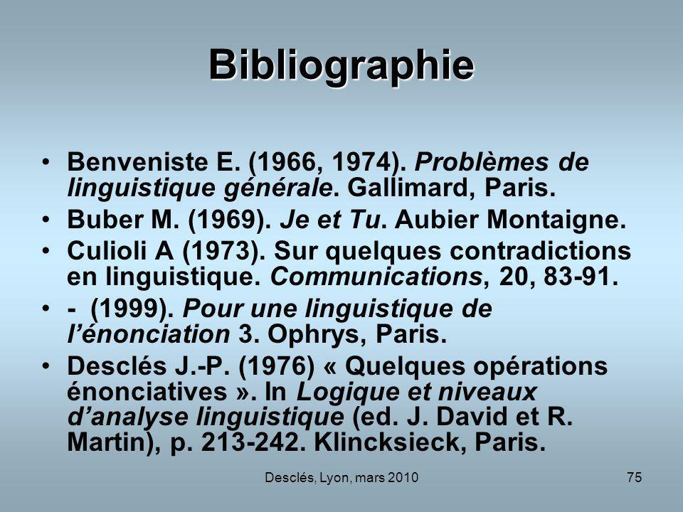 Bibliographie Benveniste E. (1966, 1974). Problèmes de linguistique générale. Gallimard, Paris. Buber M. (1969). Je et Tu. Aubier Montaigne.