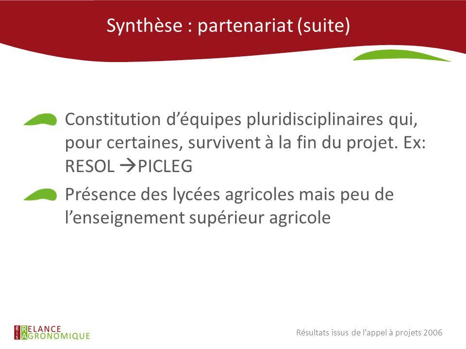 Synthèse : partenariat (suite)