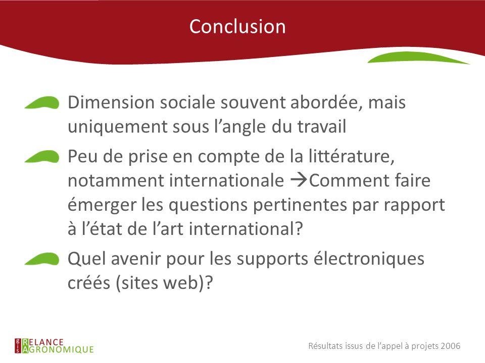 Conclusion28/11/11. Dimension sociale souvent abordée, mais uniquement sous l'angle du travail.