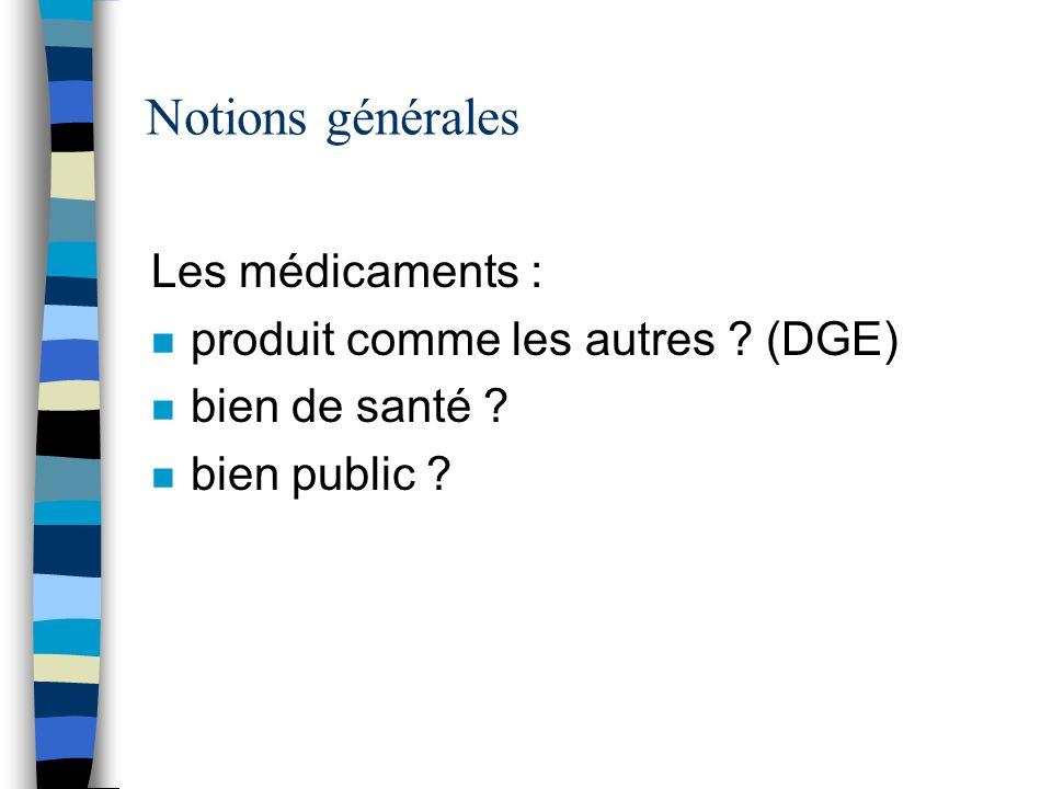 Notions générales Les médicaments : produit comme les autres (DGE)