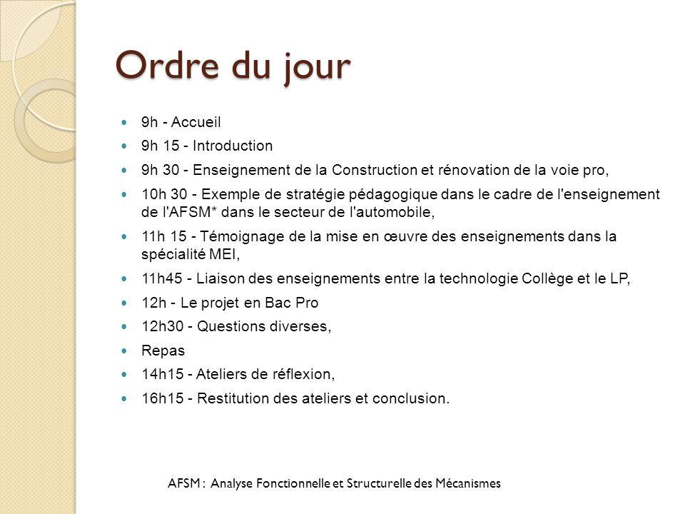 Ordre du jour 9h - Accueil 9h 15 - Introduction