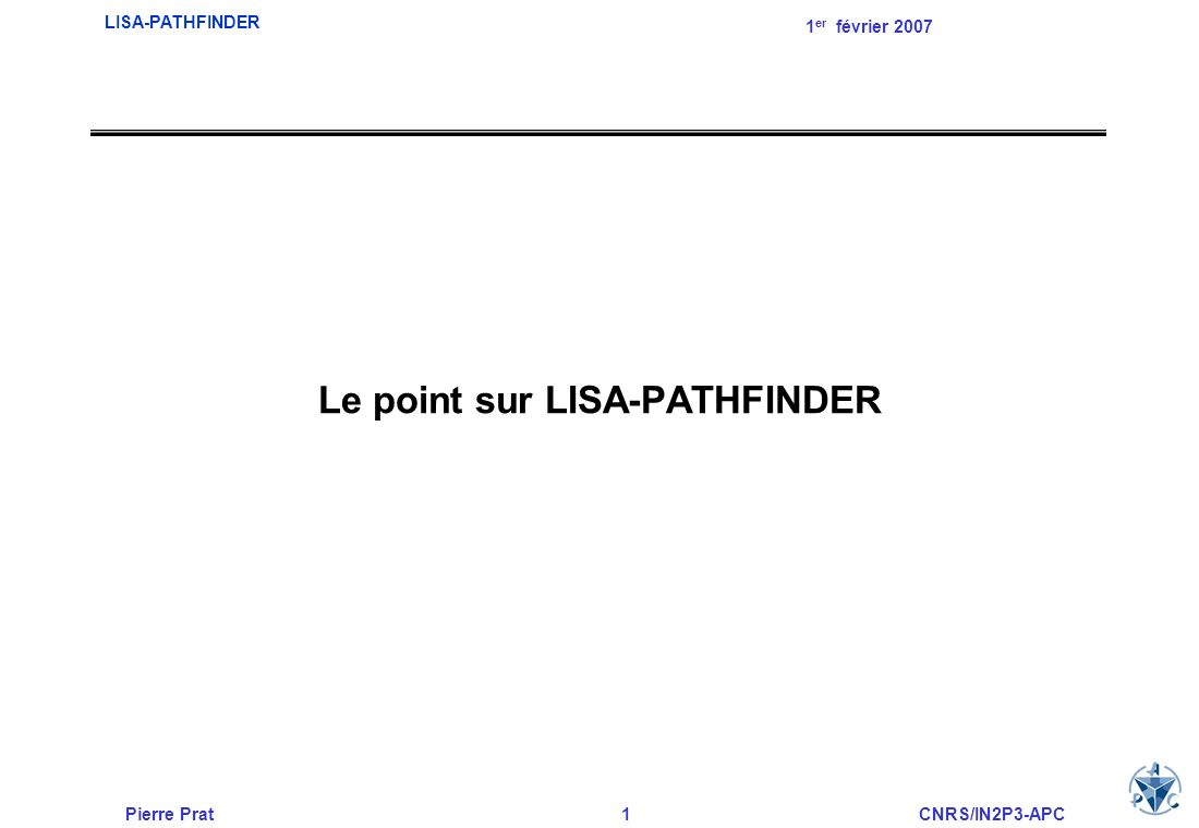 Le point sur LISA-PATHFINDER