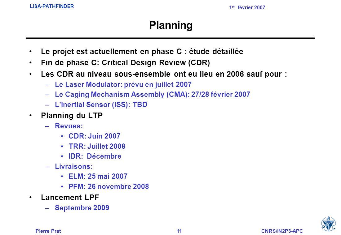 Planning Le projet est actuellement en phase C : étude détaillée