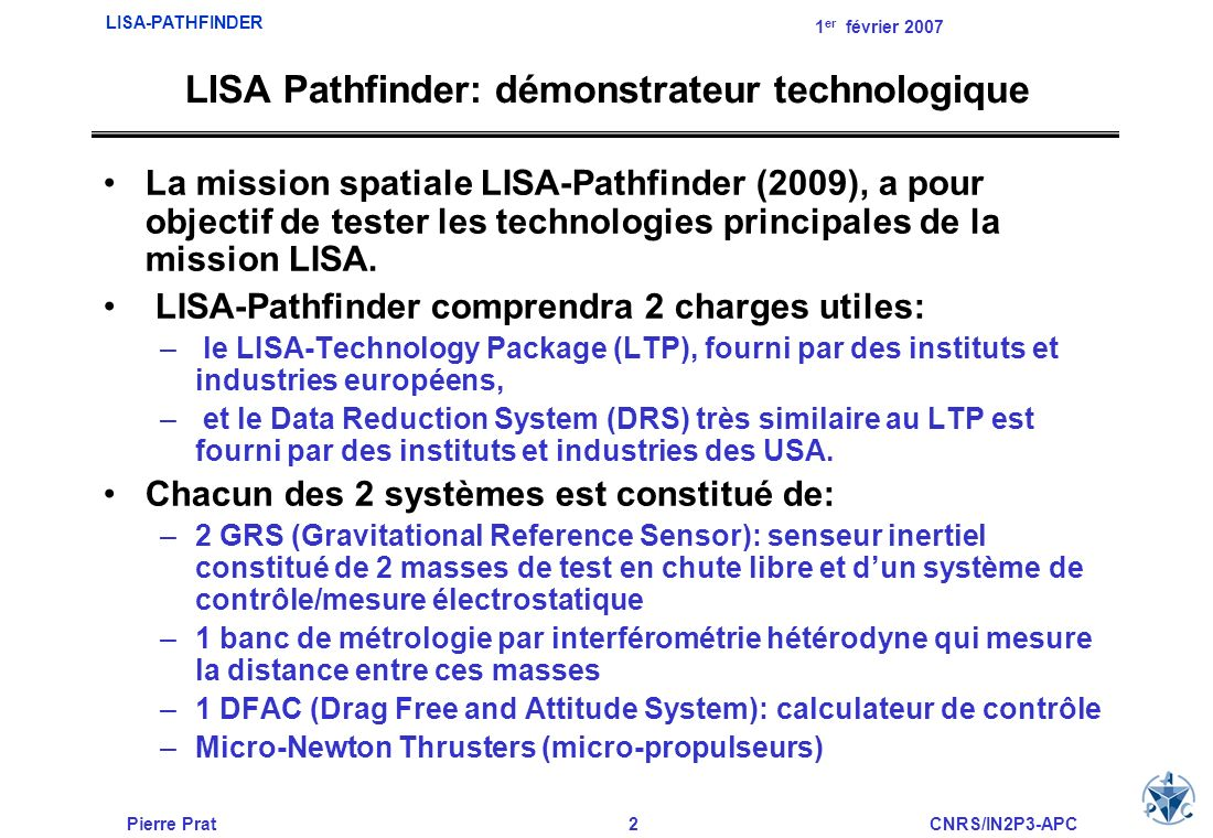 LISA Pathfinder: démonstrateur technologique