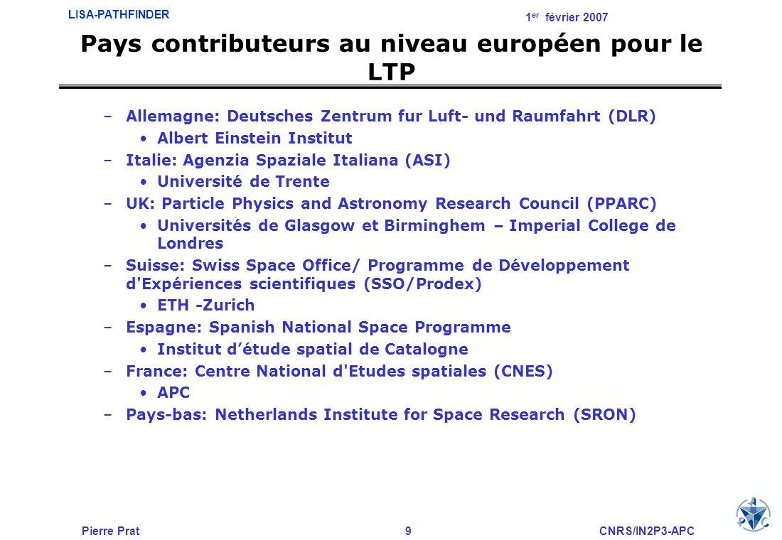 Pays contributeurs au niveau européen pour le LTP
