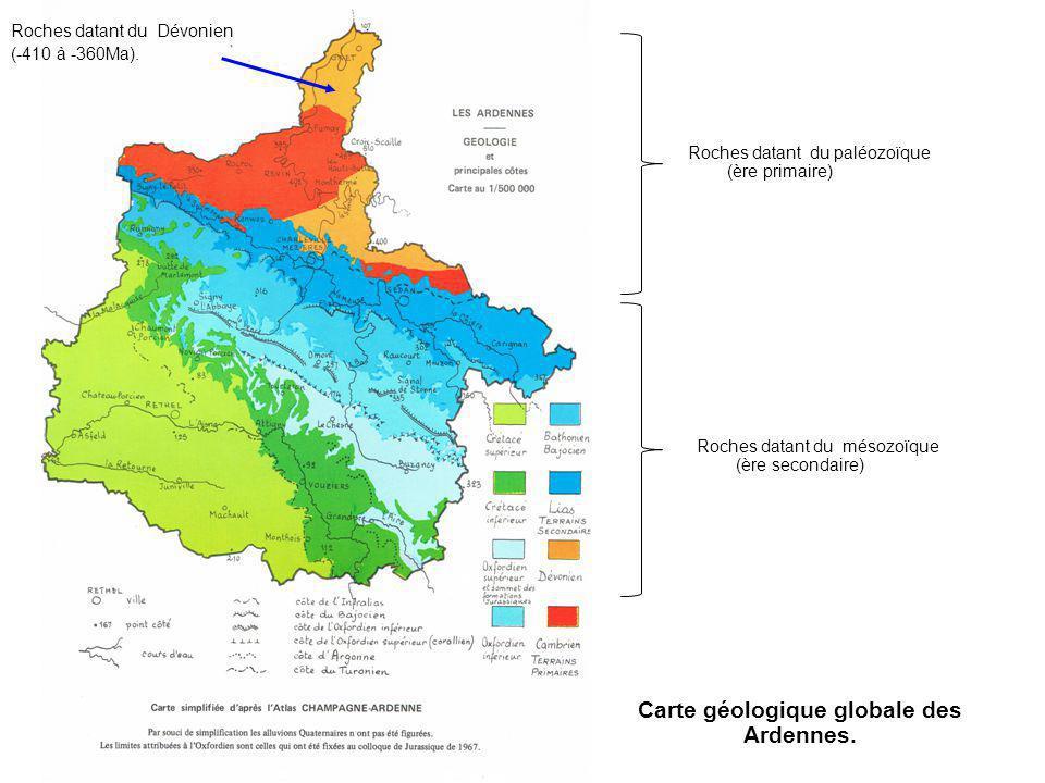 Carte géologique globale des Ardennes.