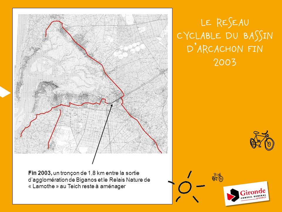 LE RESEAU CYCLABLE DU BASSIN D'ARCACHON FIN 2003