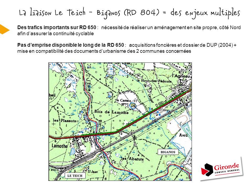La liaison Le Teich - Biganos (RD 804) = des enjeux multiples