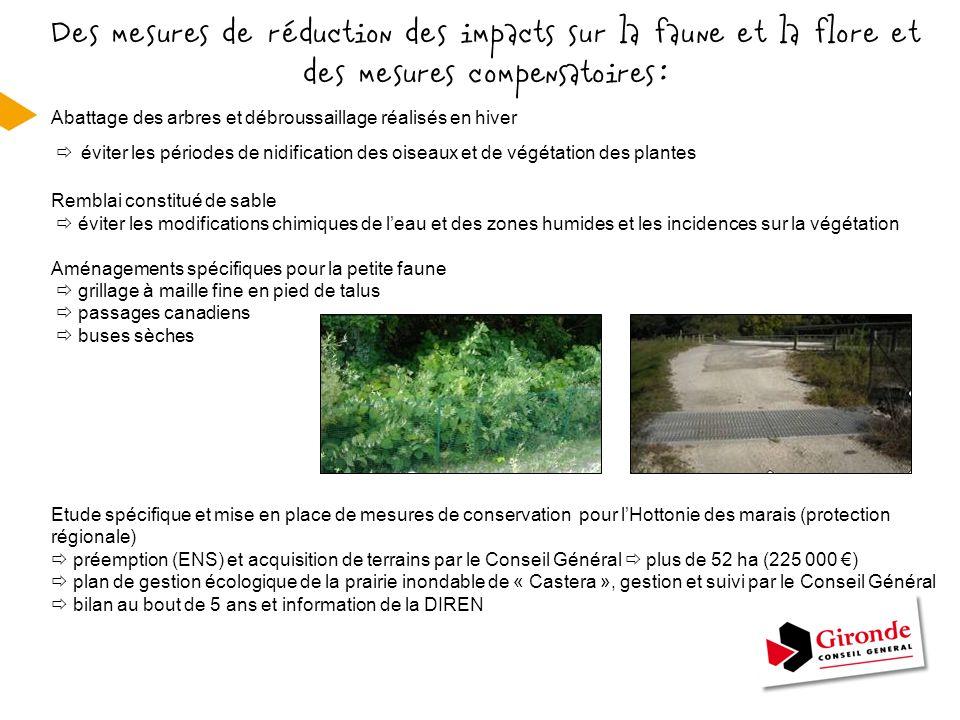 Des mesures de réduction des impacts sur la faune et la flore et des mesures compensatoires :