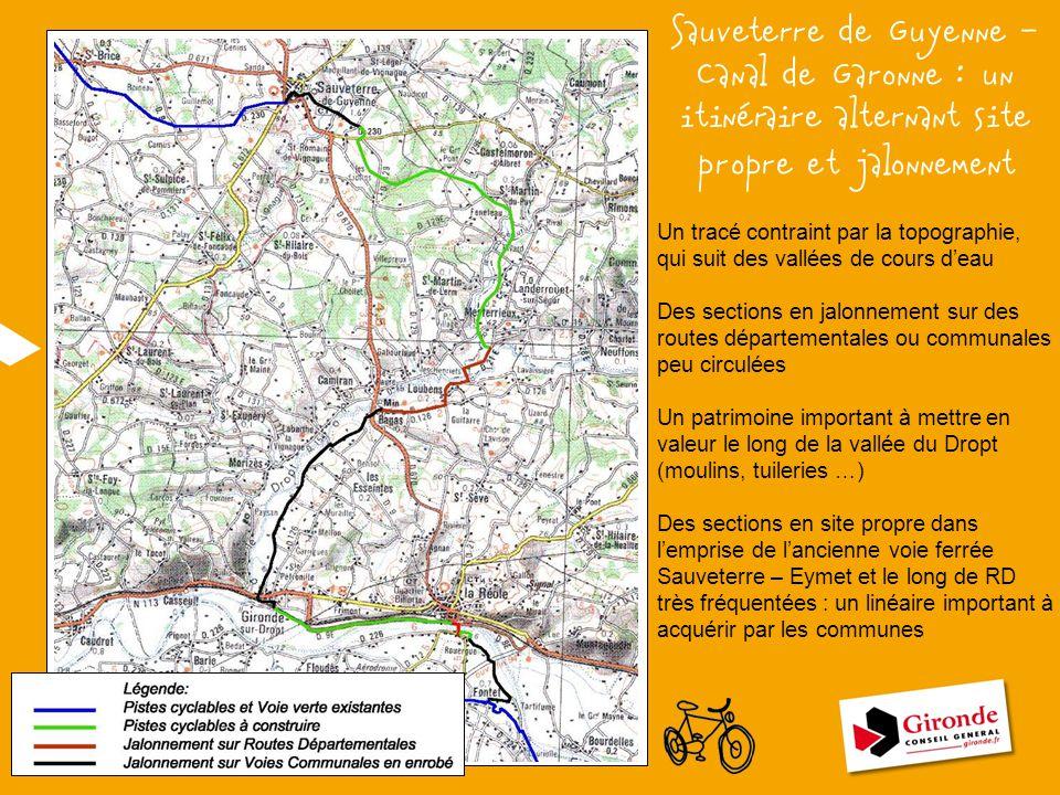 Sauveterre de Guyenne – Canal de Garonne : un itinéraire alternant site propre et jalonnement