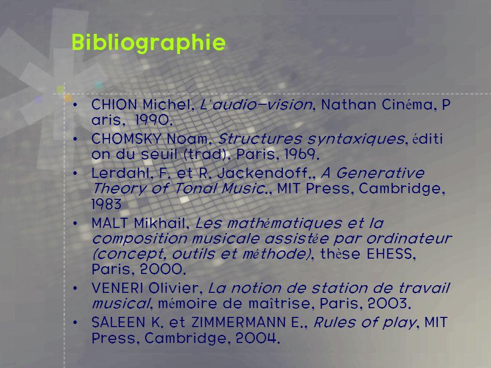 BibliographieCHION Michel, L'audio-vision, Nathan Cinéma, Paris, 1990. CHOMSKY Noam, Structures syntaxiques, édition du seuil (trad), Paris, 1969.