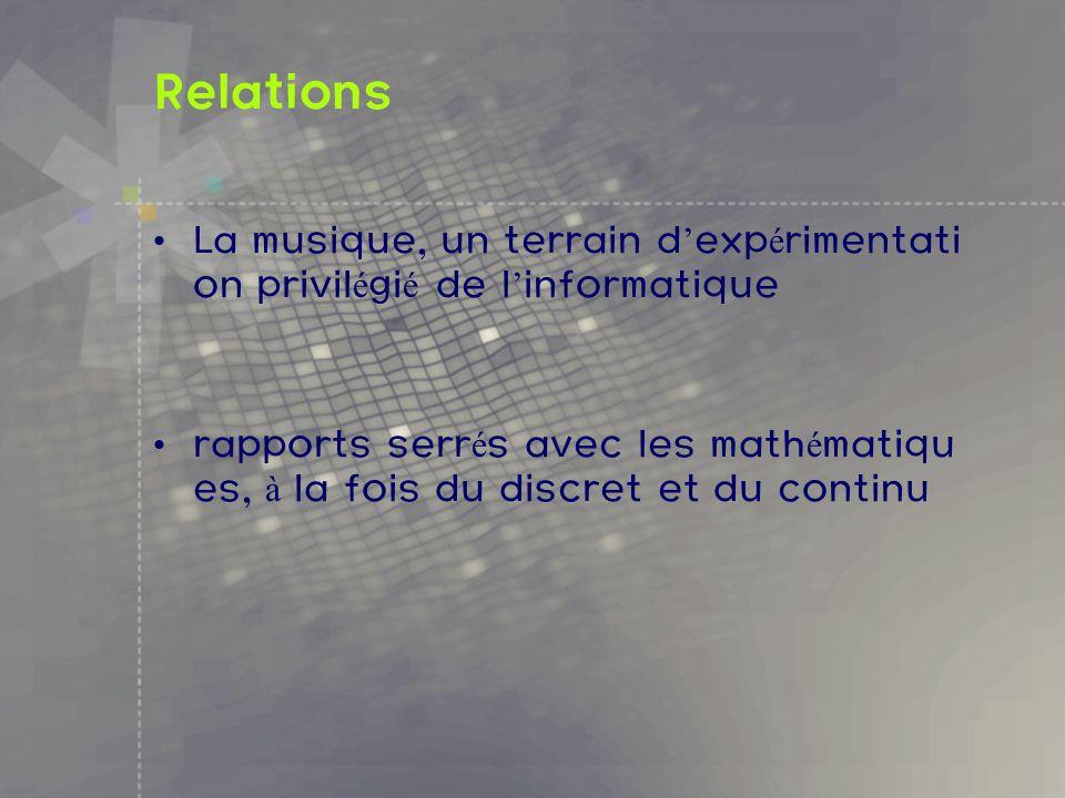 Relations La musique, un terrain d'expérimentation privilégié de l'informatique.