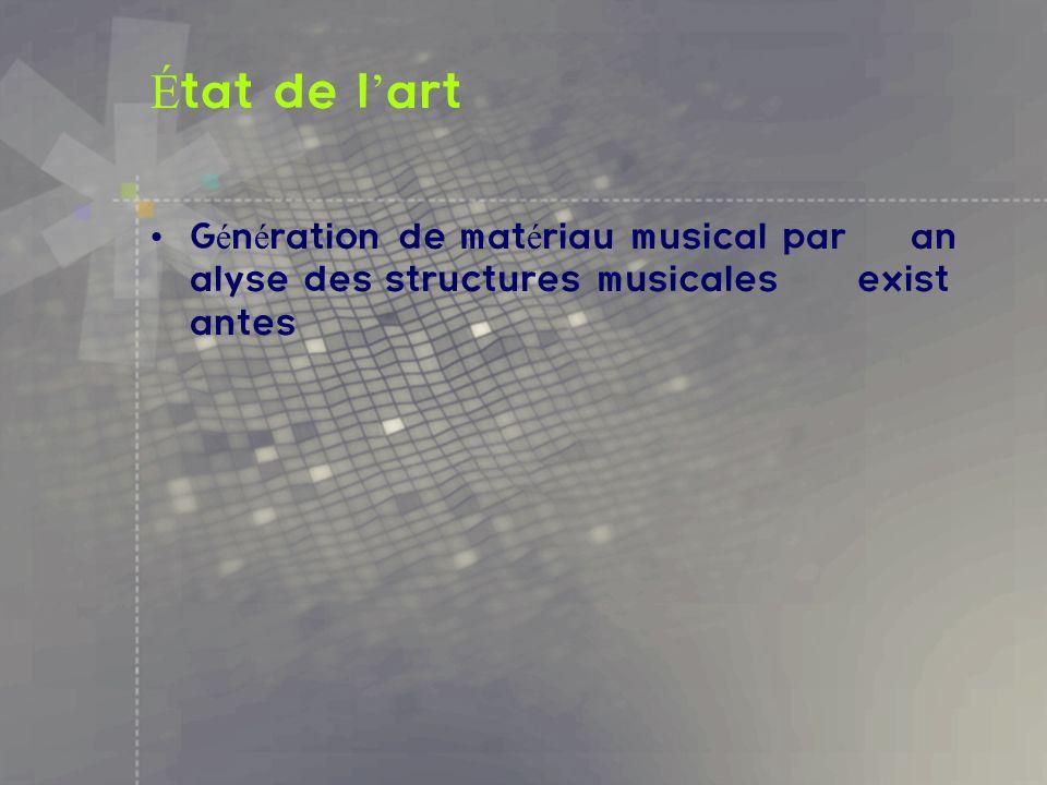 État de l'art Génération de matériau musical par analyse des structures musicales existantes.