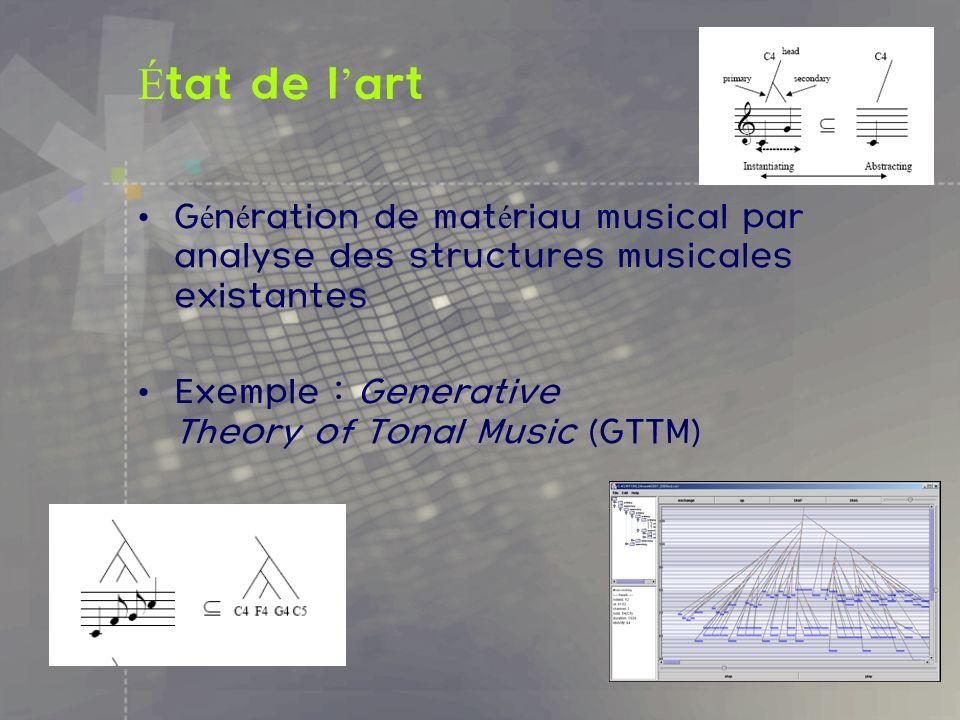 État de l'artGénération de matériau musical par analyse des structures musicales existantes.