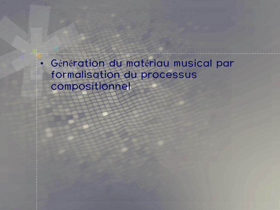 Génération du matériau musical par formalisation du processus compositionnel