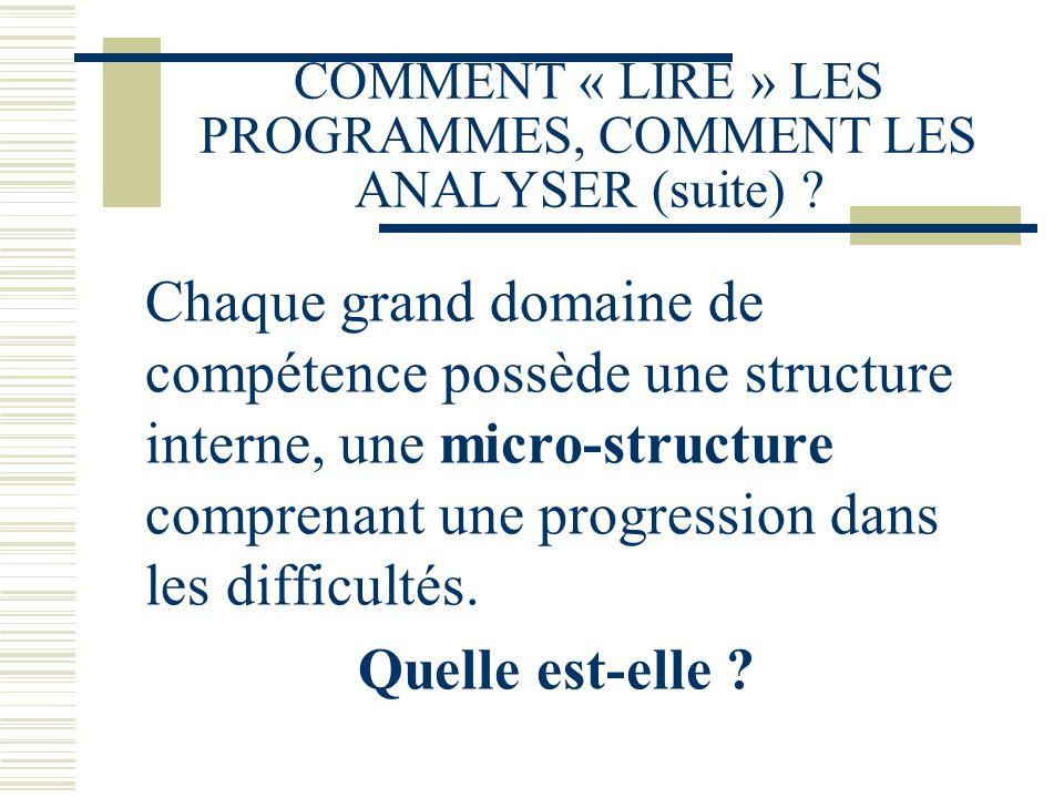 COMMENT « LIRE » LES PROGRAMMES, COMMENT LES ANALYSER (suite)