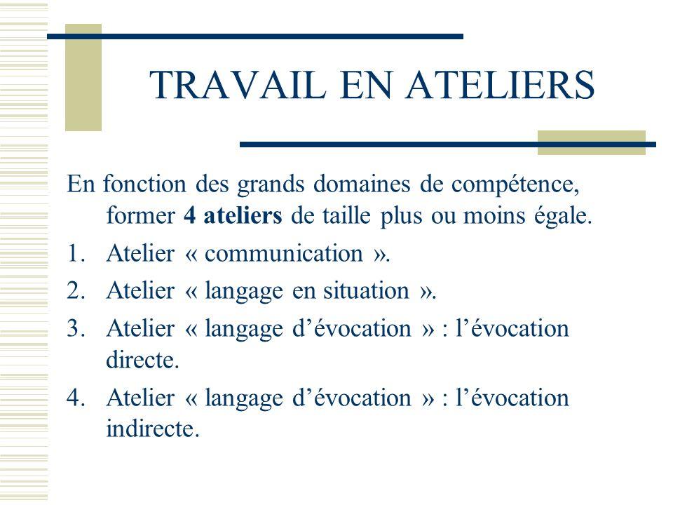 TRAVAIL EN ATELIERS En fonction des grands domaines de compétence, former 4 ateliers de taille plus ou moins égale.