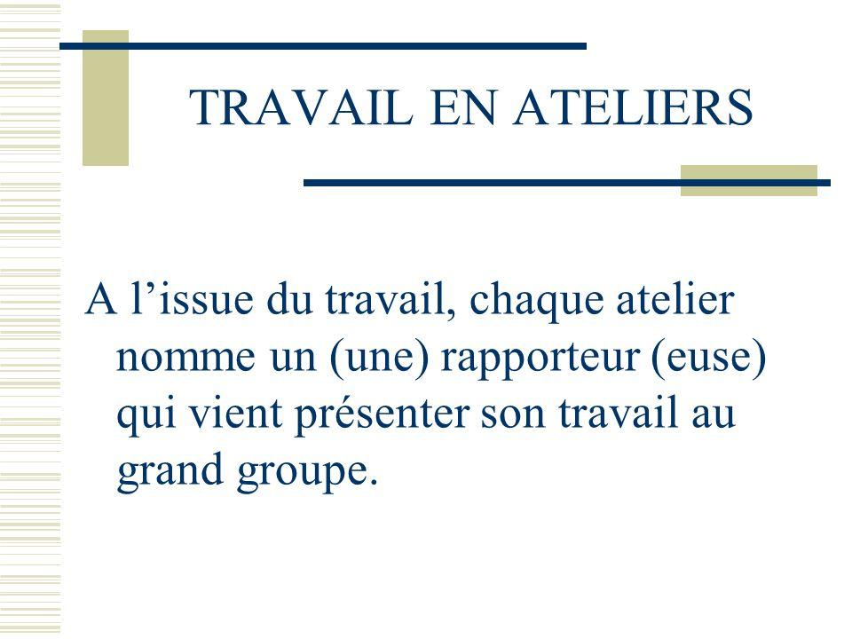 TRAVAIL EN ATELIERS A l'issue du travail, chaque atelier nomme un (une) rapporteur (euse) qui vient présenter son travail au grand groupe.