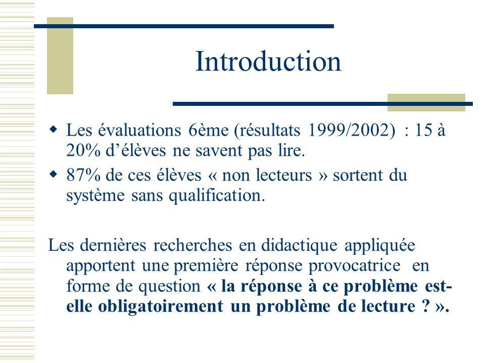 Introduction Les évaluations 6ème (résultats 1999/2002) : 15 à 20% d'élèves ne savent pas lire.