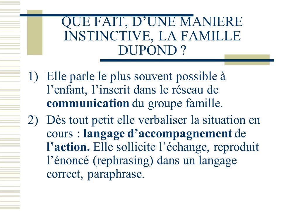 QUE FAIT, D'UNE MANIERE INSTINCTIVE, LA FAMILLE DUPOND