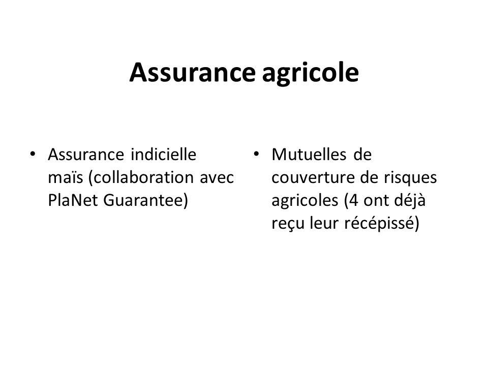 Assurance agricole Assurance indicielle maïs (collaboration avec PlaNet Guarantee)