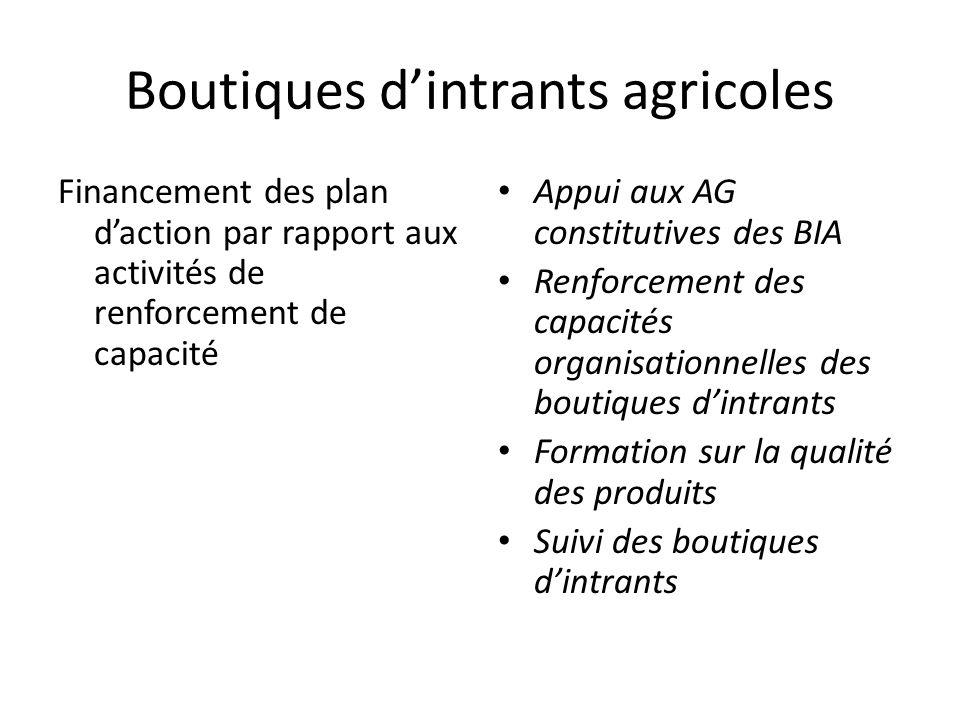 Boutiques d'intrants agricoles