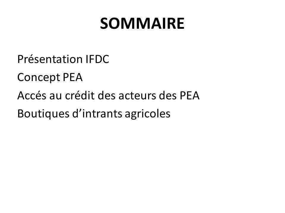 SOMMAIRE Présentation IFDC Concept PEA